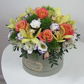 """Puokštė dėžutėje """"Gėlių..."""