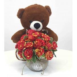 Rožių puokštė vazone su...